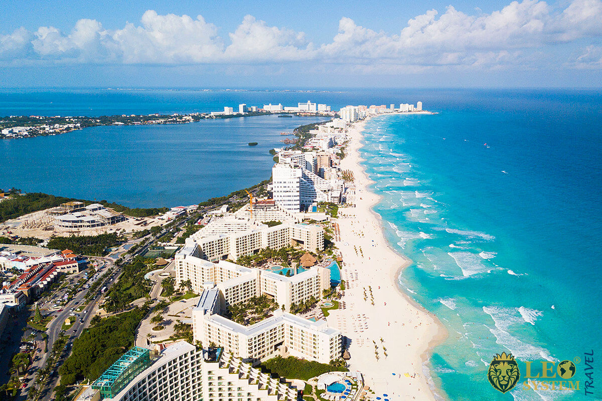 Beautiful view of buildings, hotels and the sea, Cancun, Mexico