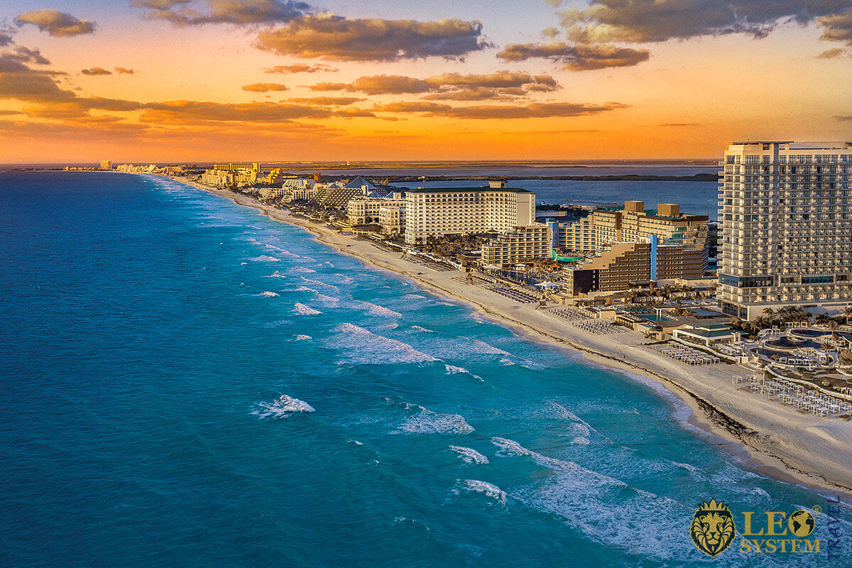 Panoramic view of Cancun city at sunset time