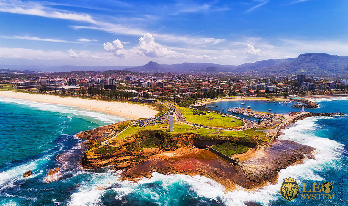 View of the Headland of Wollongong city on Pacific Coast of Australia