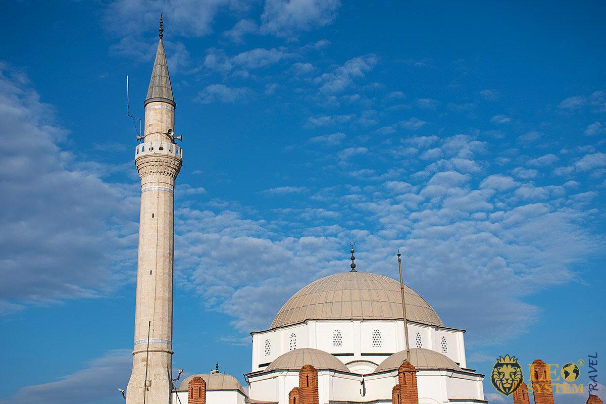View of the landmark Hisar Mosque, Izmir, Turkey