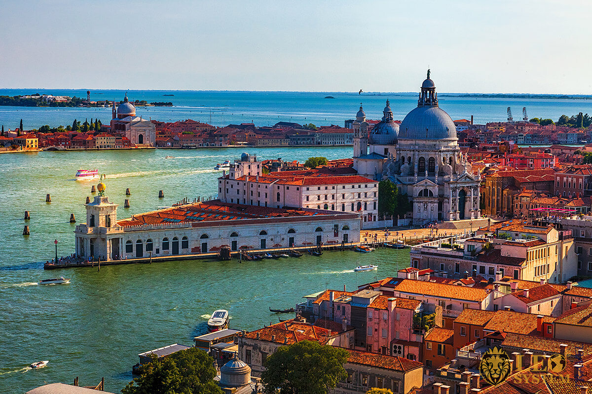 View of the water streets and houses in city of Venice, Italy