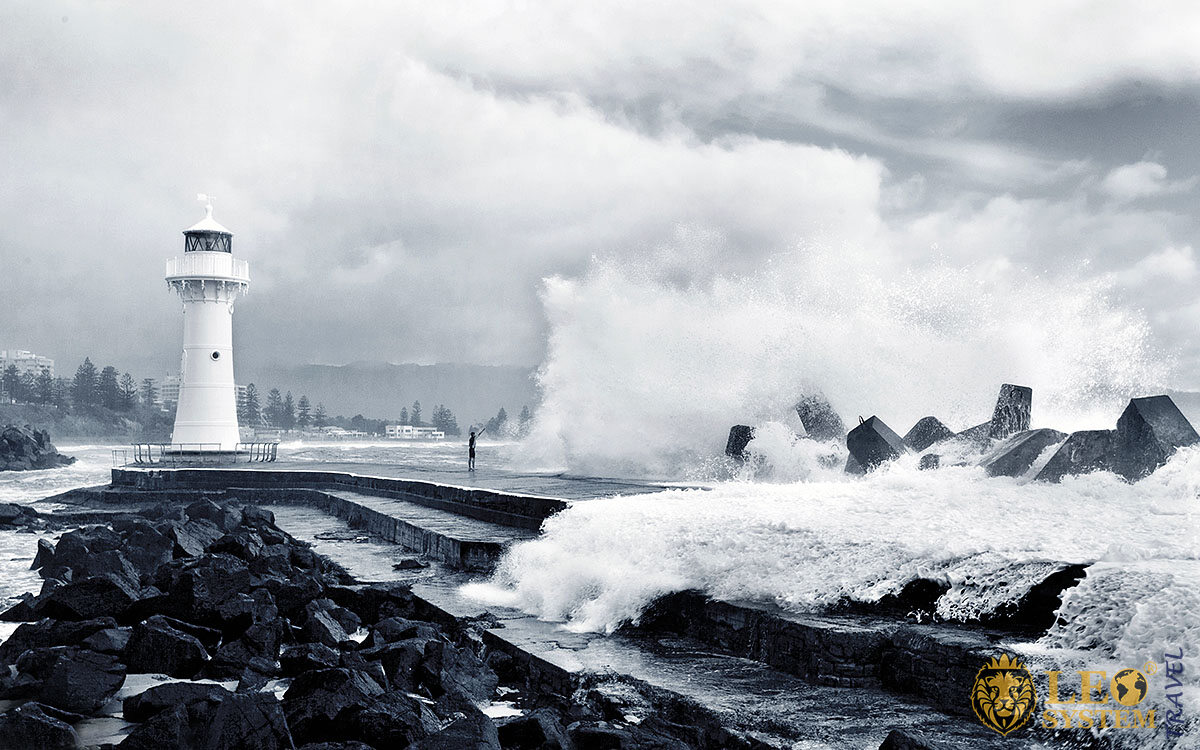 View of the harbor at the time of the storm, Wollongong, Australia