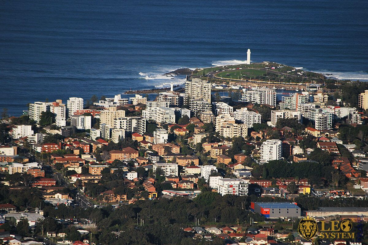Aerial view of the city of Wollongong, Australia