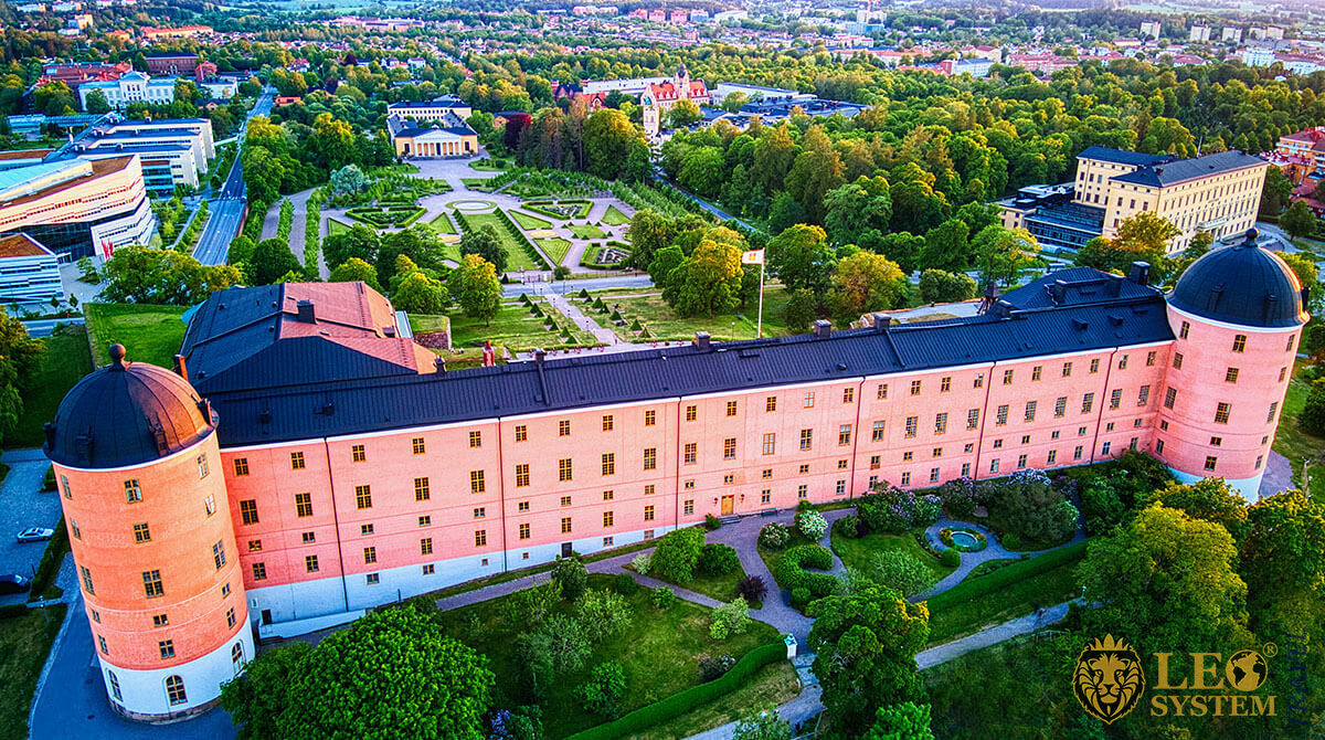 Aerial view of the Castle in the city of Uppsala, Sweden