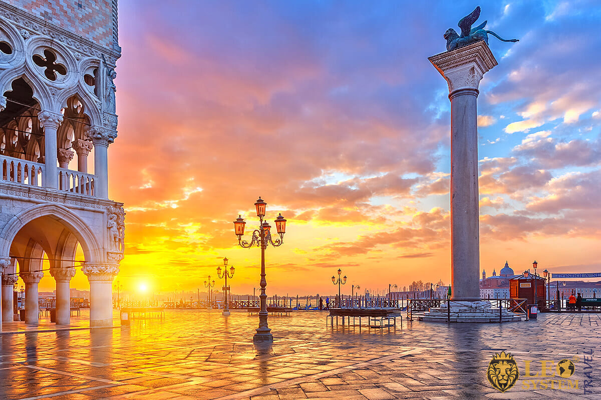 View of St. Mark's Square at sunrise, Venice, Italy