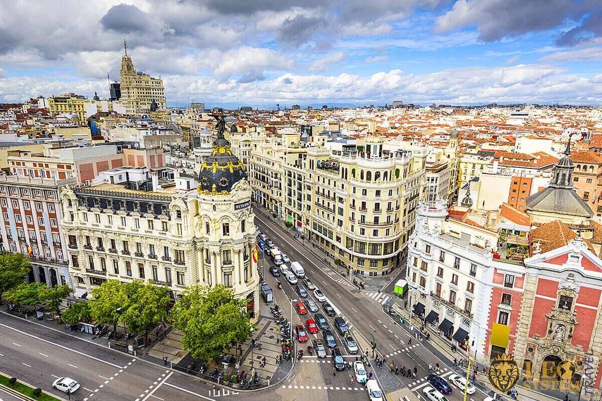 Excellent aerial view of the architecture of the city and Gran Via street, Madrid, Spain