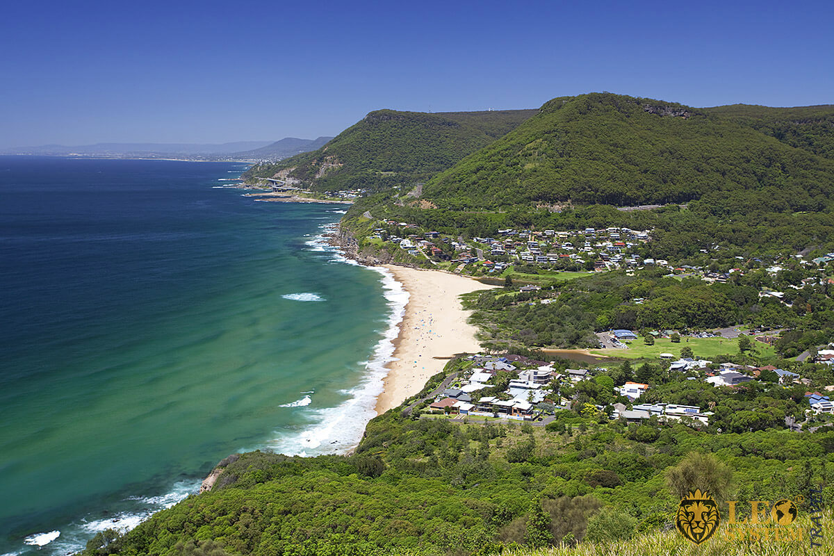View of beautiful nature and beach in city of Wollongong, Australia