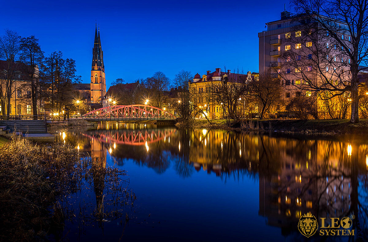 Night view of the Cathedral and Fyris River, Uppsala, Sweden