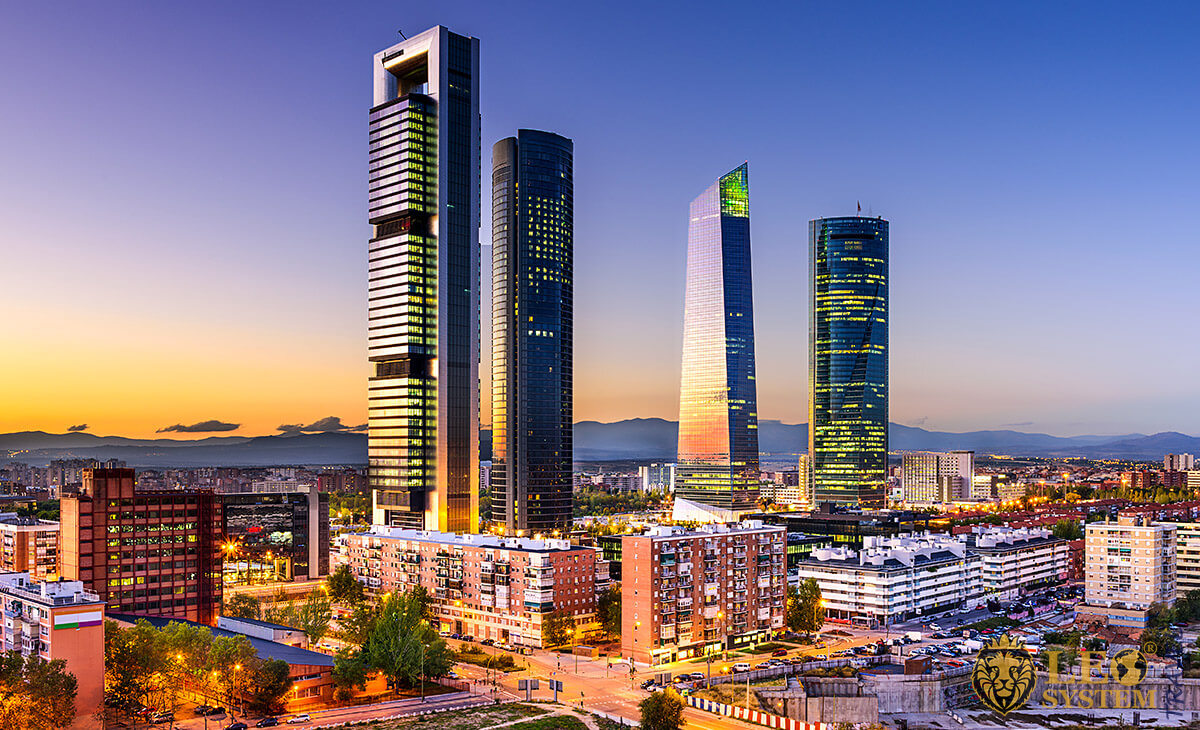 Stunning view of skyscrapers in the city of Madrid, Spain
