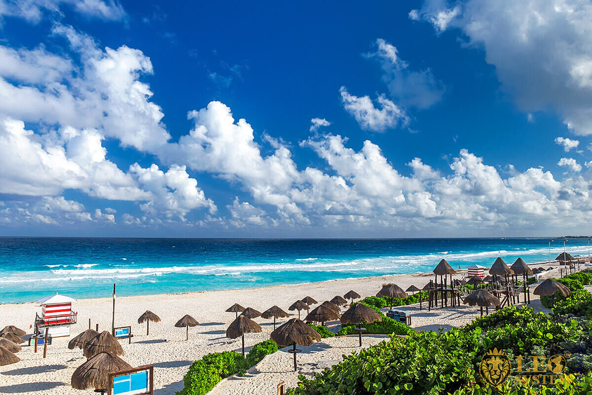 View of the beach and blue sky in the city of Cancun, Mexico