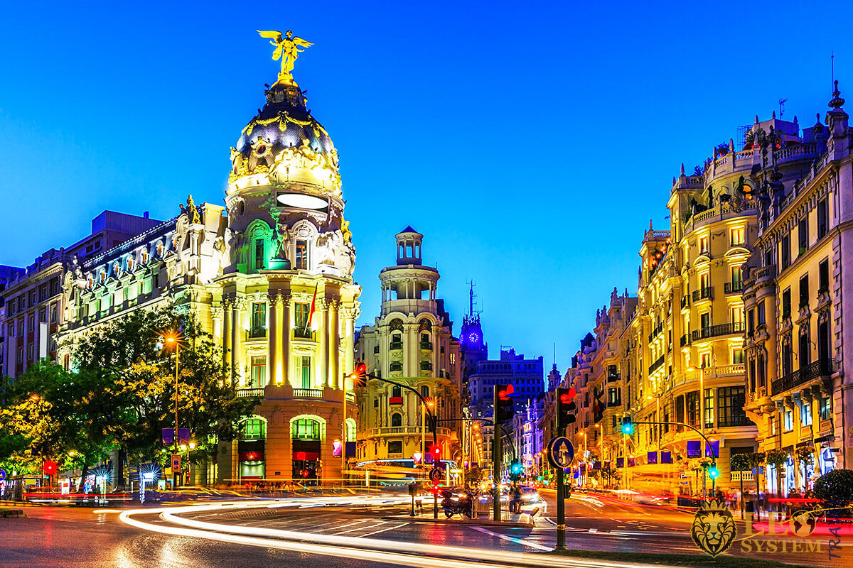 Panoramic view of the evening city of Madrid, Spain