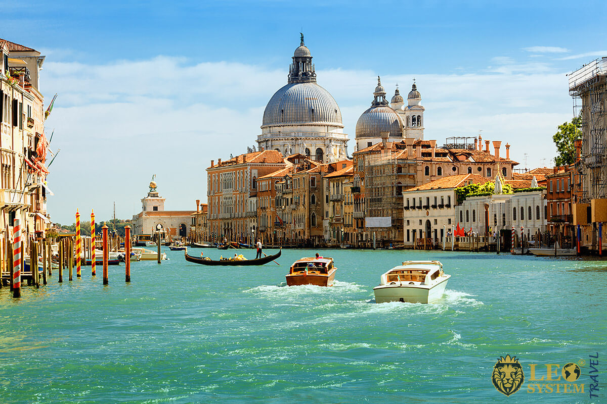 View of the Grand Canal and Basilica Santa Maria della Salute, Venice, Italy