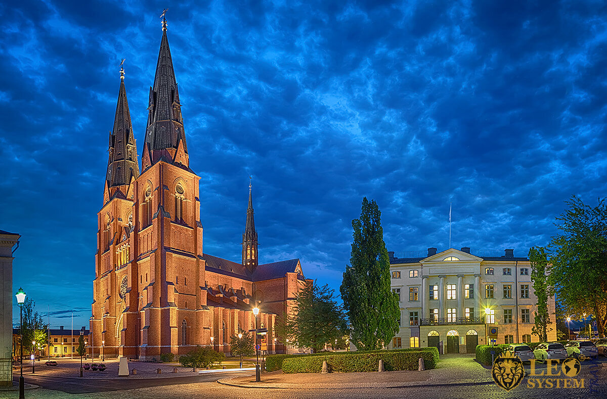 Evening view of the Cathedral in city of Uppsala, Sweden