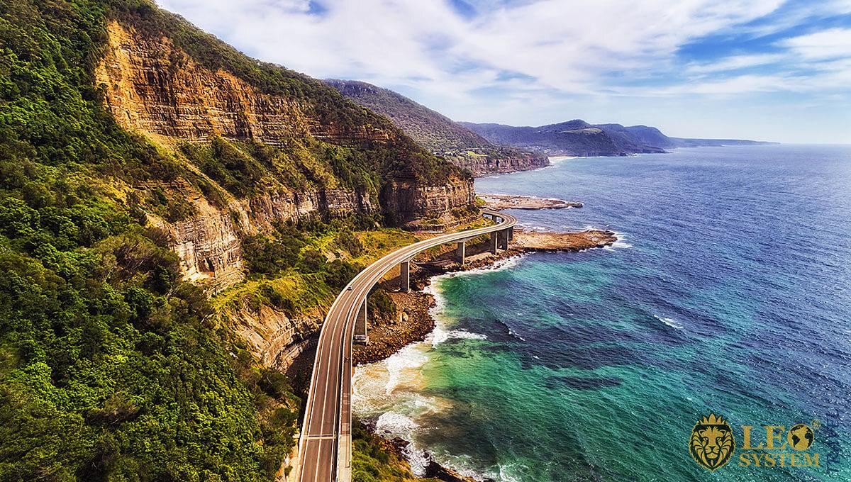 Image of a road bridge along the coastline, Wollongong, Australia