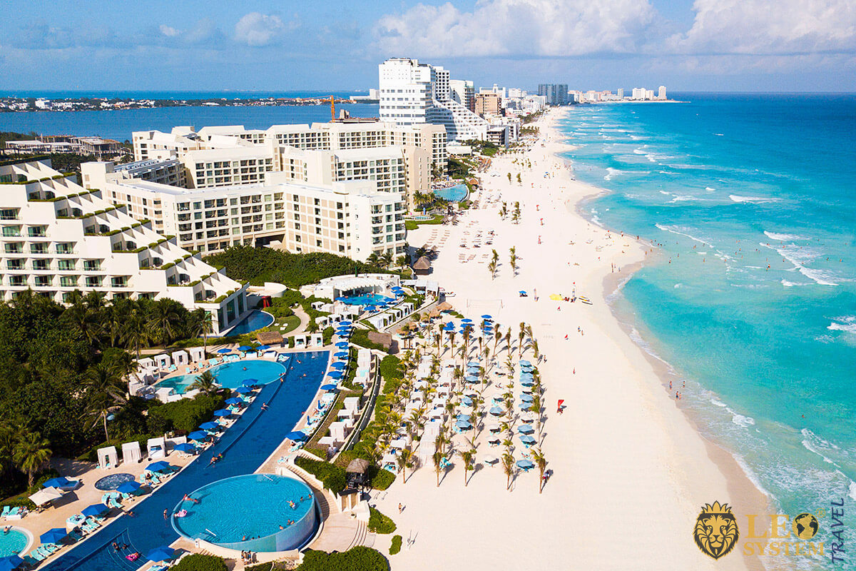 Aerial view of the coastline and beach in city of Cancun, Mexico