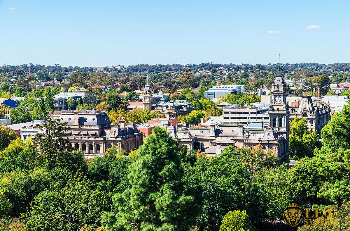 View of city buildings and trees, Bendigo, Australia