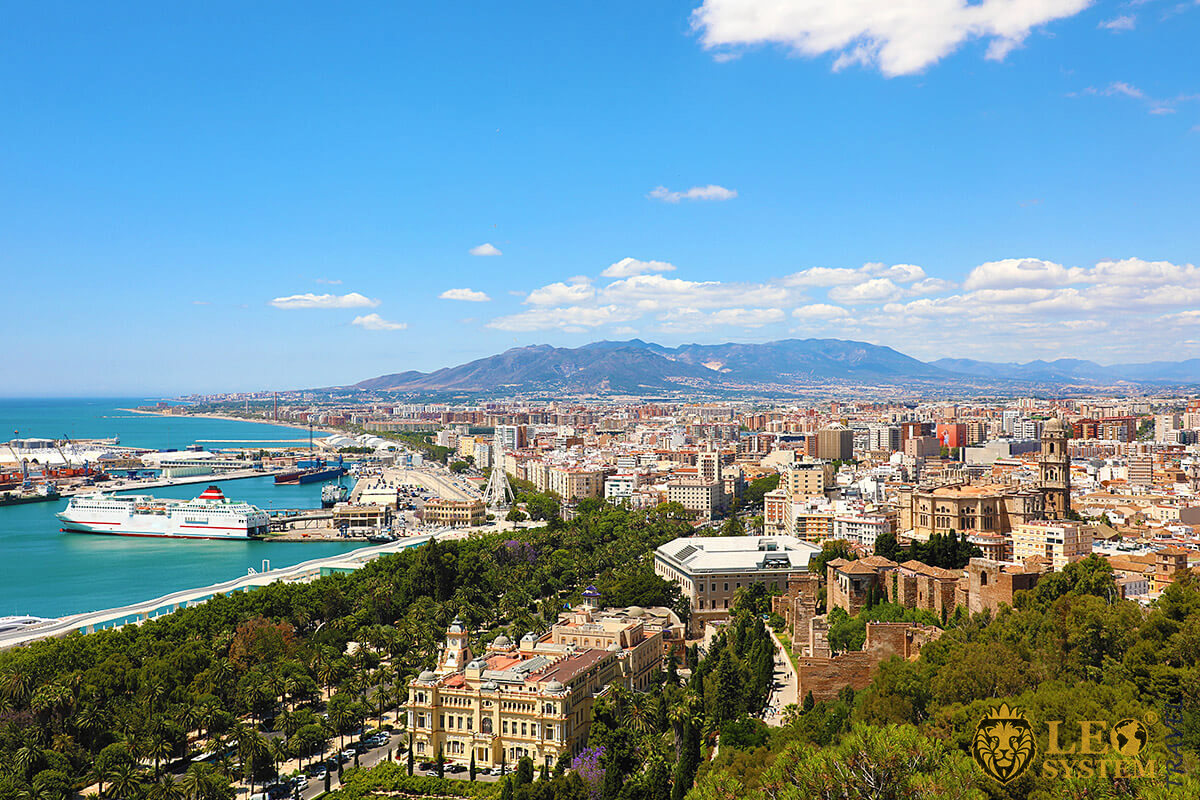 Panoramic view of the mountains and the city of Malaga, Spain