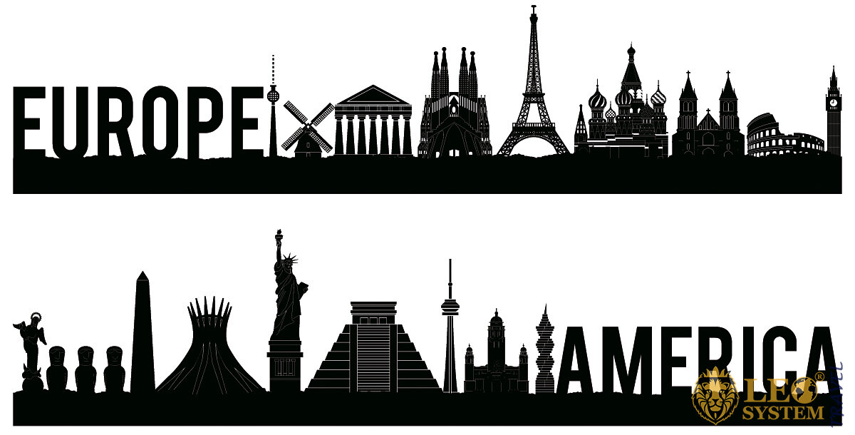 Image of famous landmarks of America and Europe