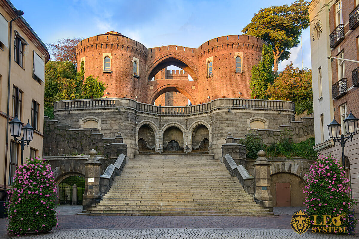 View of the stairs leading to the Medieval Tower Karnan, Helsingborg, Sweden