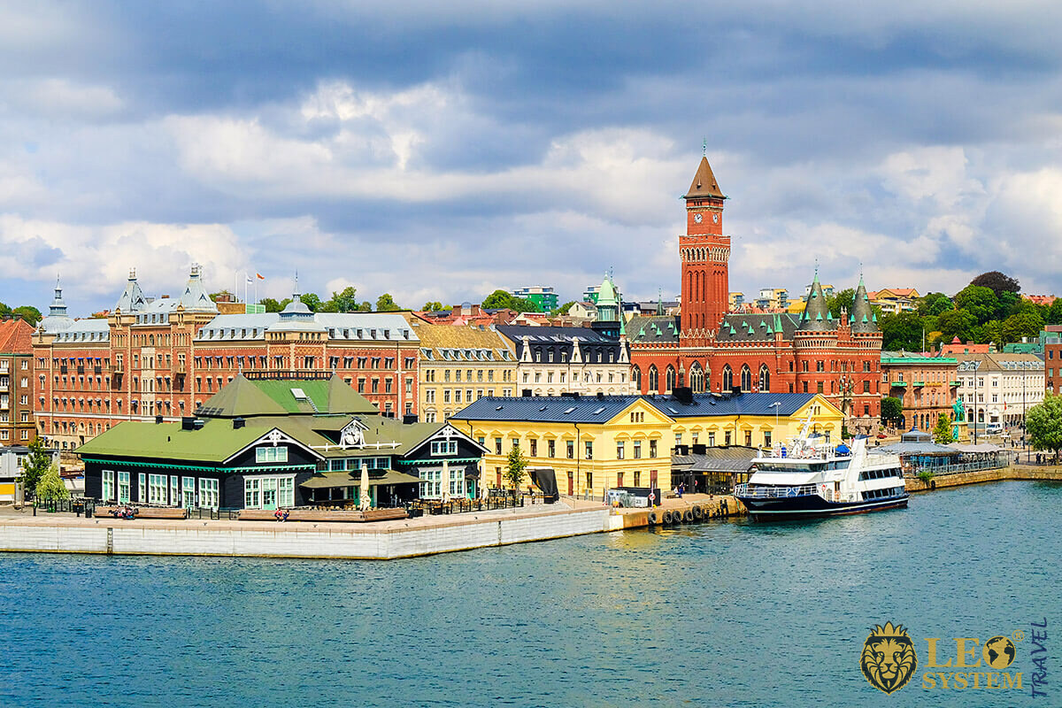 View of the port and city buildings, Helsingborg, Sweden