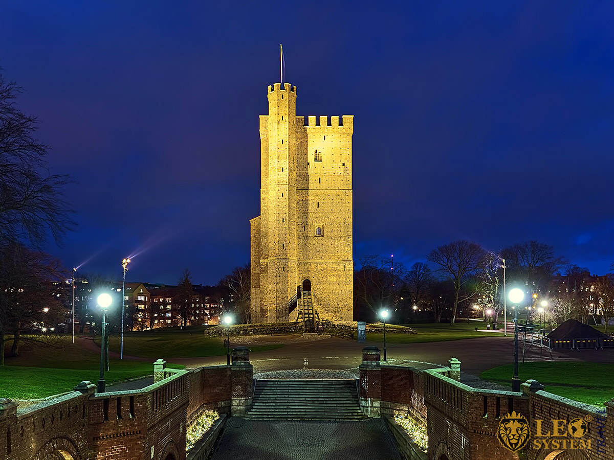 Night view of the Medieval Tower Karnan, city of Helsingborg, Sweden