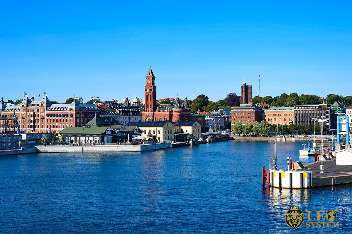 View of the port and various buildings, Helsingborg, Sweden