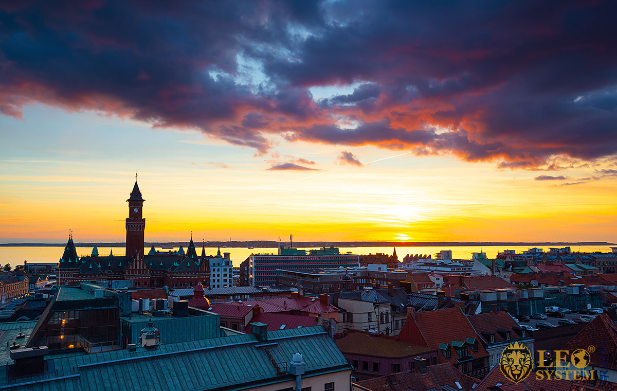 Aerial view of the city of Helsingborg at the time of sunset