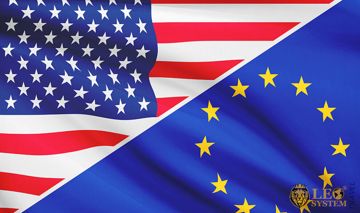 Image of two flags of America and Europe