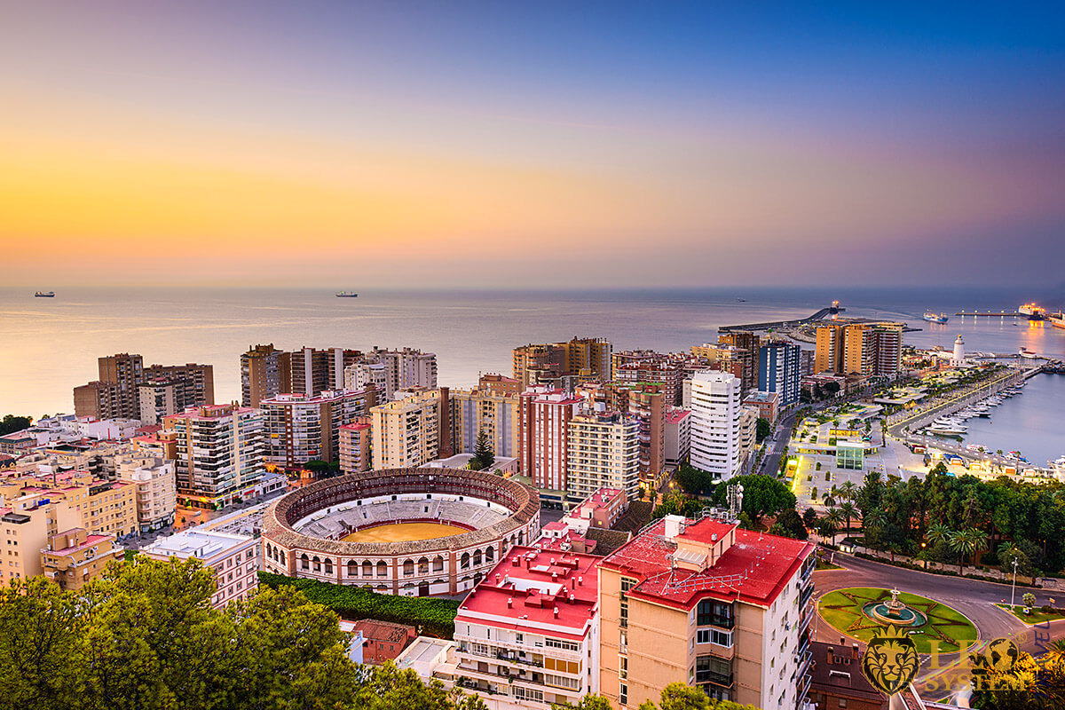 Spectacular view of Malaga city at sunset