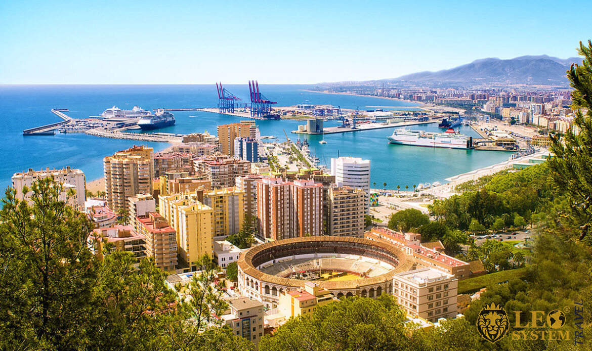 Sea and port view in Malaga, Spain