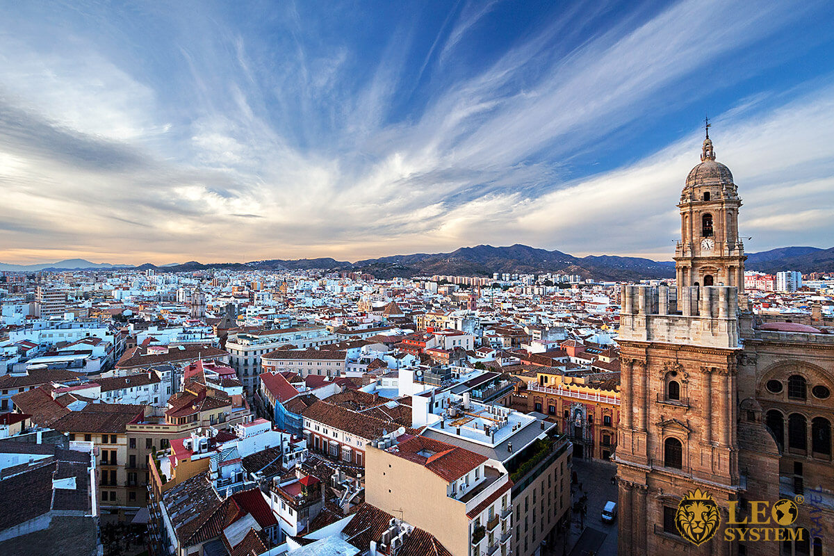 Stunning views of buildings and the city, Malaga, Spain