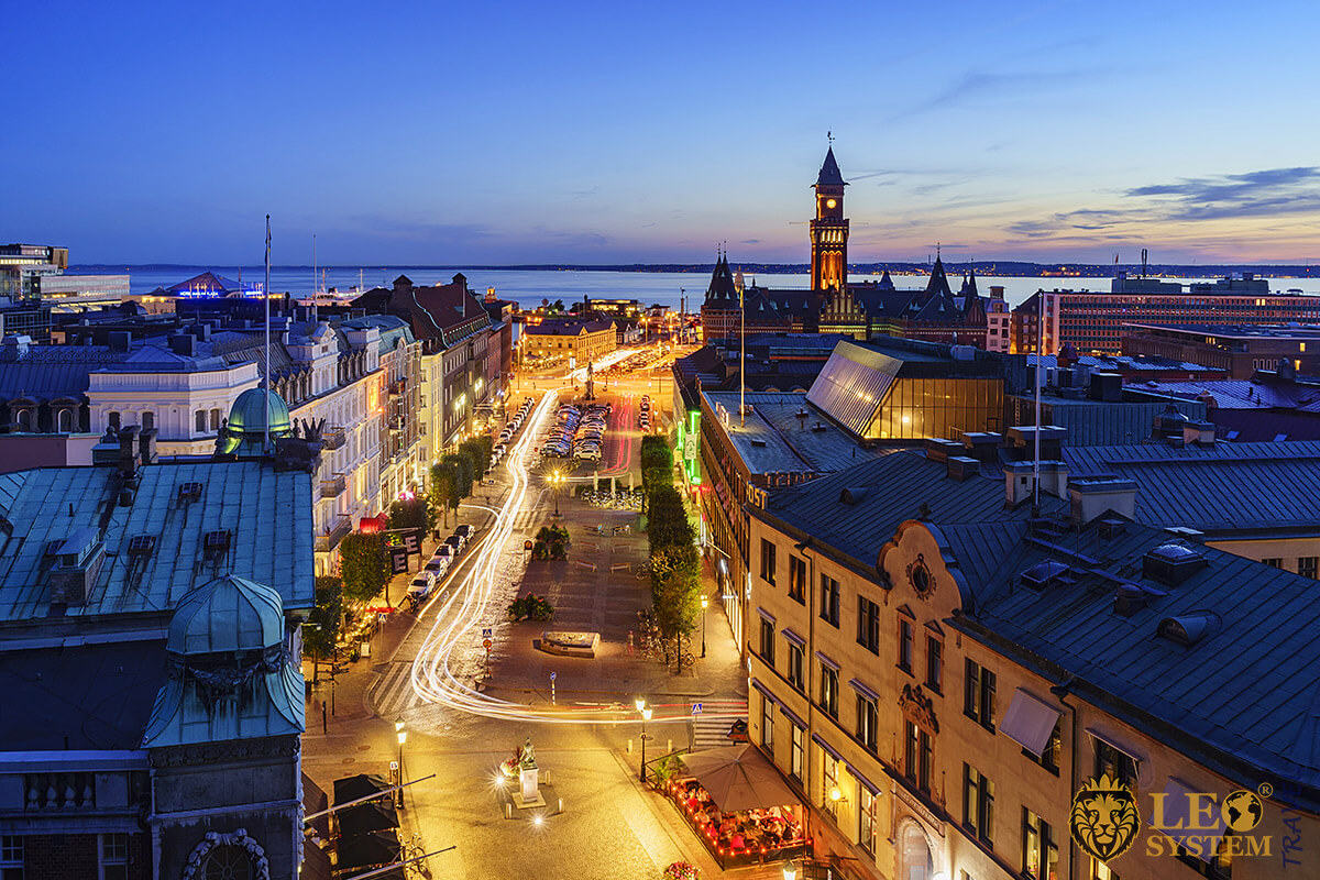 Panoramic view of night streets in Helsingborg, Sweden