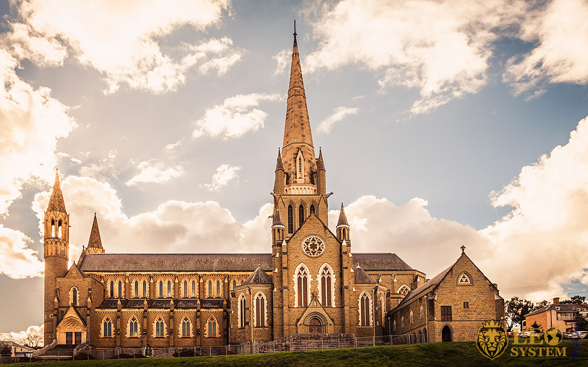 Magnificent view of the Sacred Heart Cathedral, Bendigo, Australia
