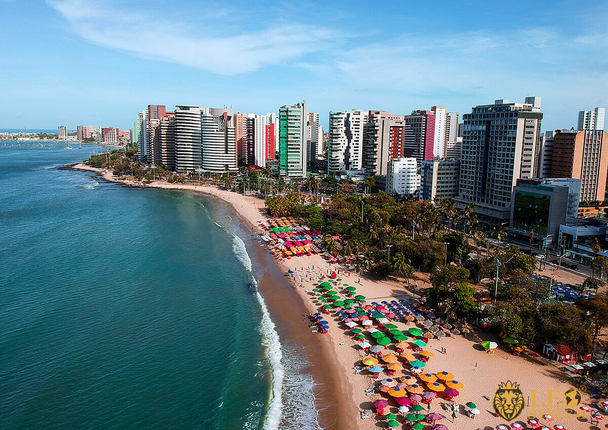 Aerial view of the beach and coastline in Fortaleza