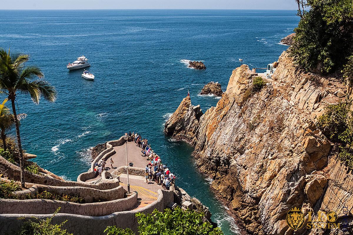 Stunning view of La Quebrada Cliff, Acapulco, Mexico