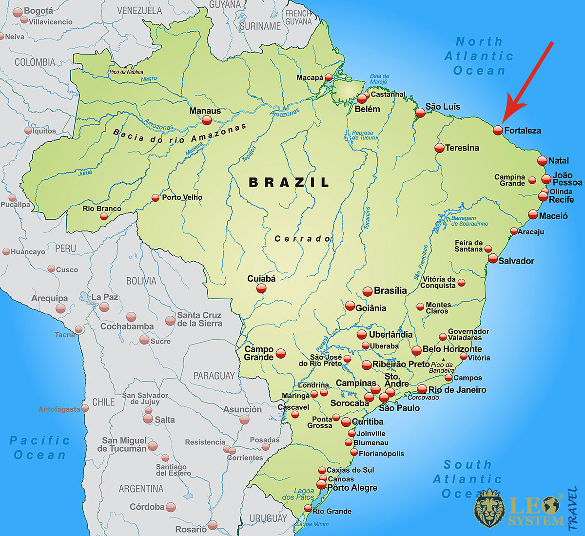 Image of a map showing the location of the city of Fortaleza, Brazil