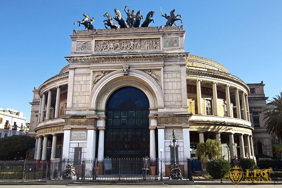 View of the Politeama Garibaldi Theatre, Palermo, Italy