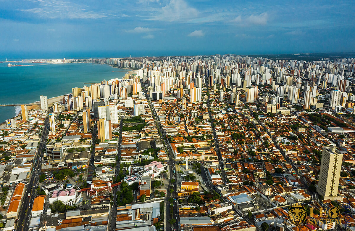 Aerial view of the city and Atlantic Ocean, Fortaleza