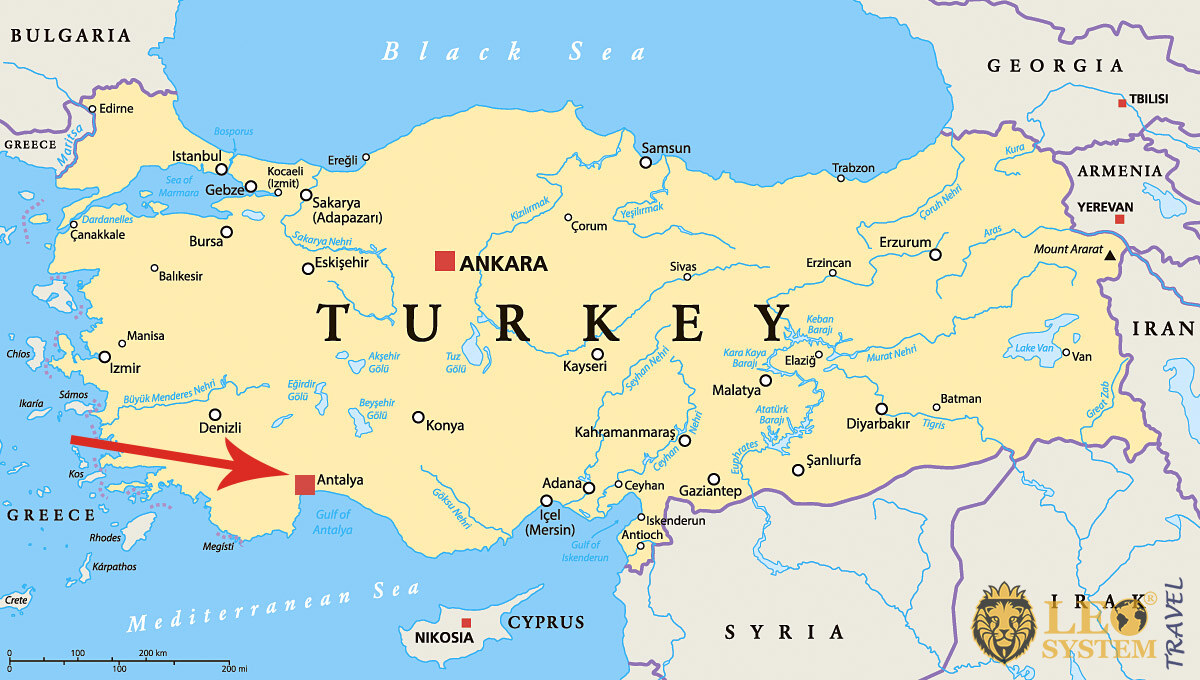 Image of a map showing the location of the city of Antalya, Turkey