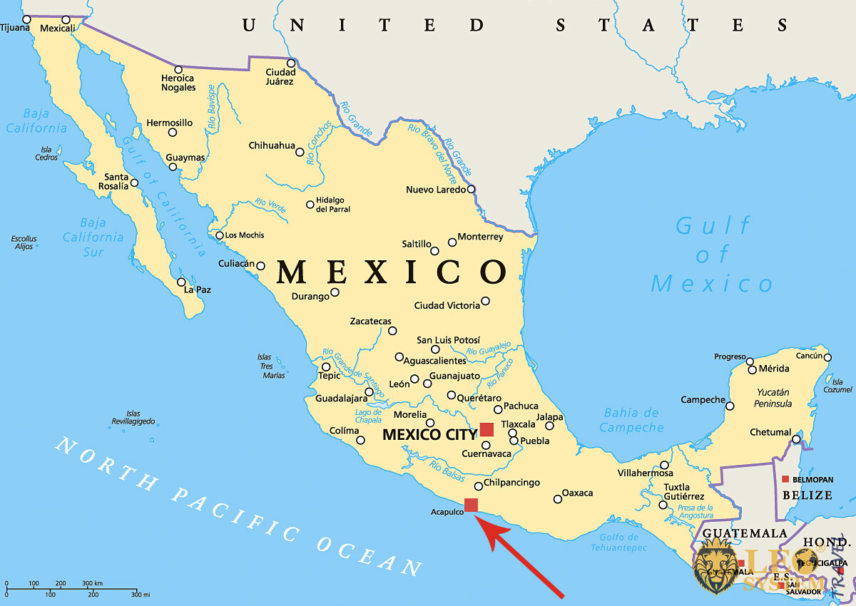 Image of a map showing the location of the city of Acapulco, Mexico