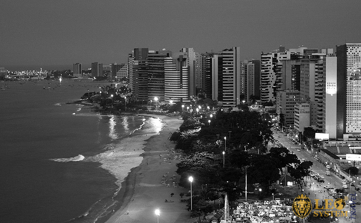 Night view of the coastline, buildings and beach, Fortaleza, Brazil