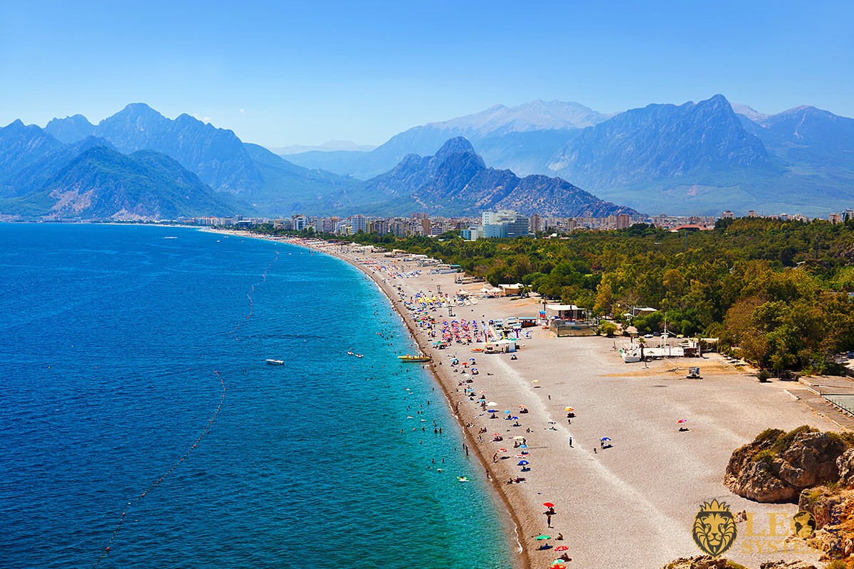 Wonderful view of the beach and sea coastline, Antalya, Turkey