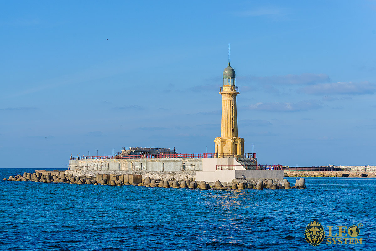Image of an Ancient Lighthouse in Alexandria, Egypt