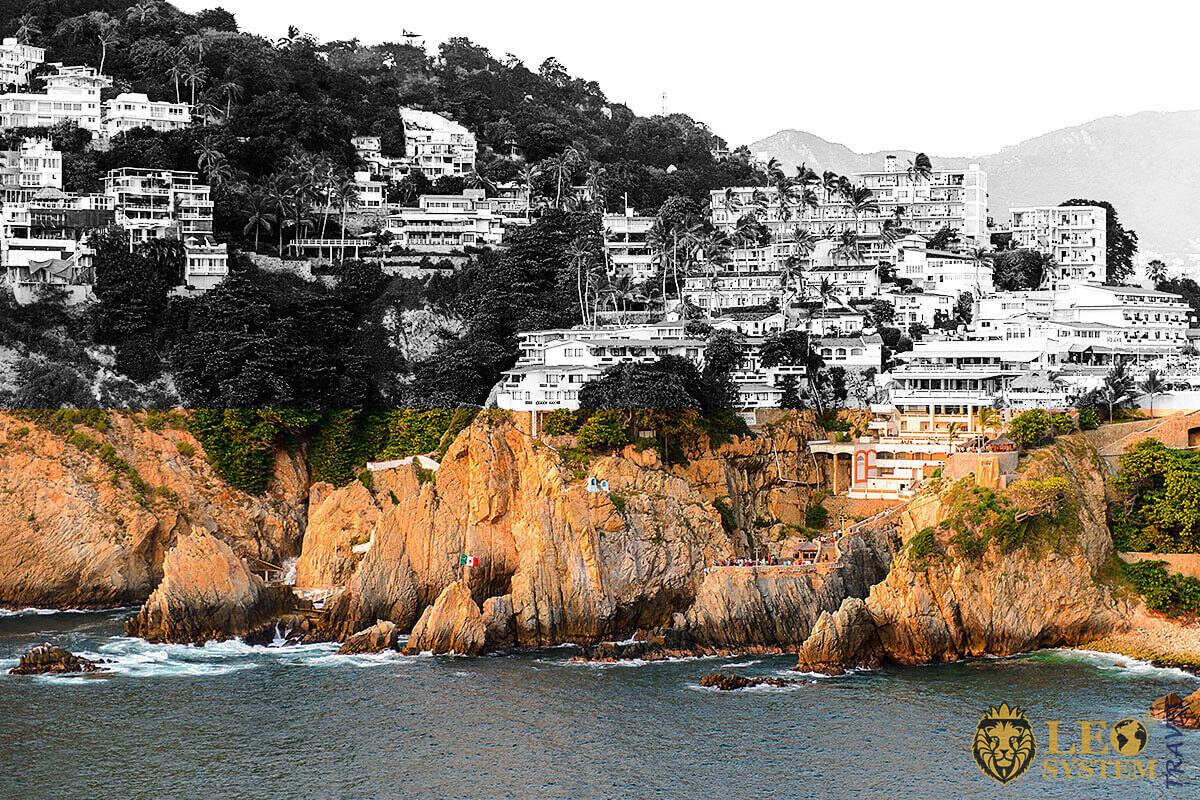 La Quebrada Cliff view is a popular attraction in the city of Acapulco, Mexico