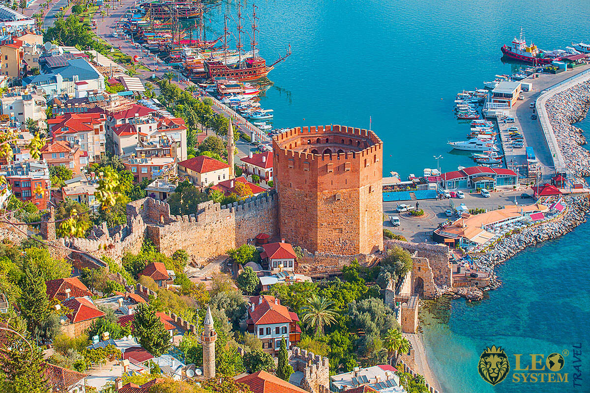 View of city buildings and port in Antalya city