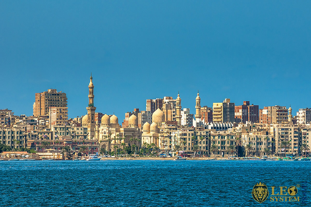Magnificent views of the city and the sea in Alexandria, Egypt
