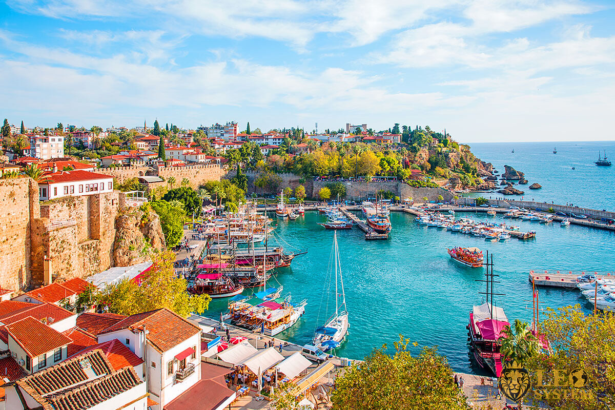 Panoramic view of the city and the sea, city of Antalya, Turkey