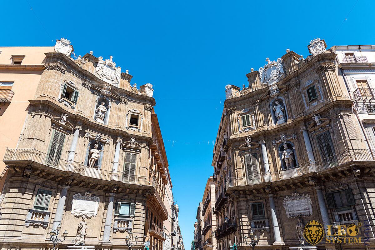 View of the Quattro Canti in Palermo, Sicily