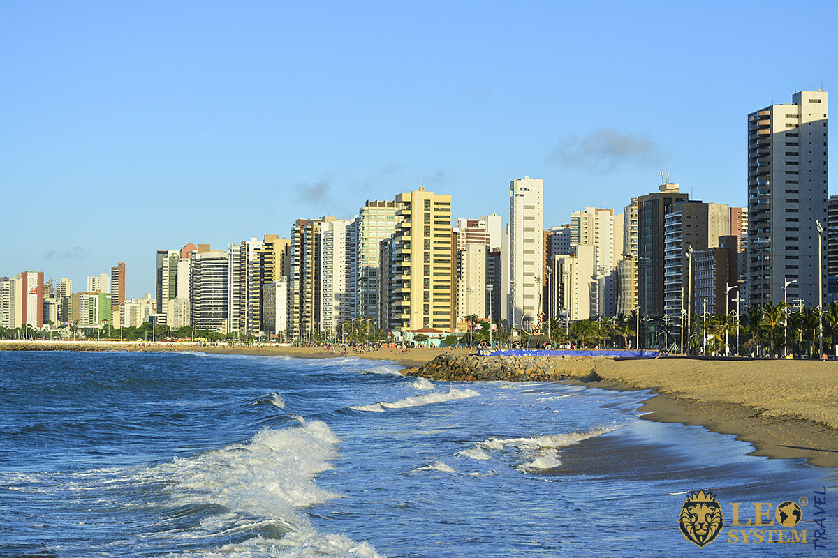 Image of city buildings and the beach, Fortaleza, Brazil