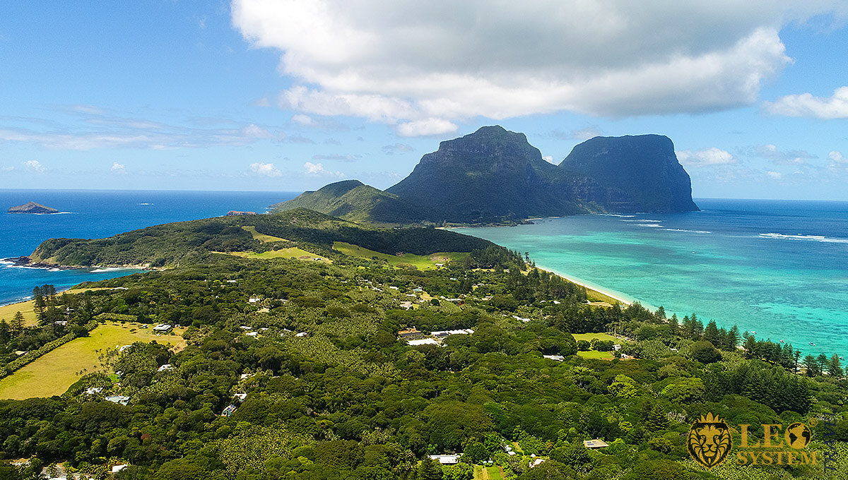 Panoramic view of the nature of the island and the ocean, Lord Howe Island